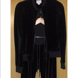David Lerner, black velvet, jogging suit